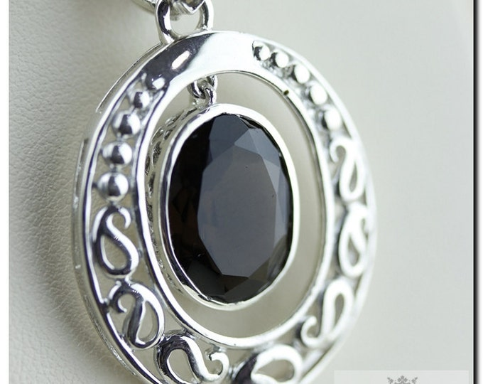 Vintage Setting Smoky Topaz in Motion 925 SOLID Sterling Silver Pendant & 4mm Snake Chain + FREE Worldwide Shipping
