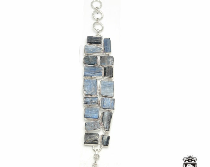 Natural Creation! Double Layered KYANITE 925 Sterling Silver + Copper Bonded Bracelet & Worldwide Express Tracked Shipping B3327