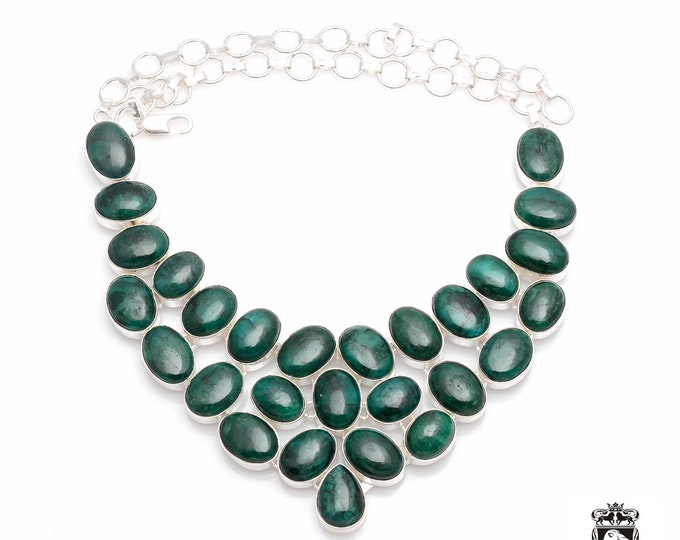 Natural Sri-Lankan Mined EMERALD Cabochon Large Multi-Layered 925 Sterling Silver Copper Bonded Necklace & Worldwide Express Shipping N0068