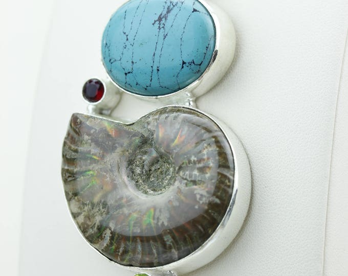 Turquoise Ammonite Fossil 925 S0LID Sterling Silver Pendant + 4MM Snake Chain & Worldwide Shipping p4256