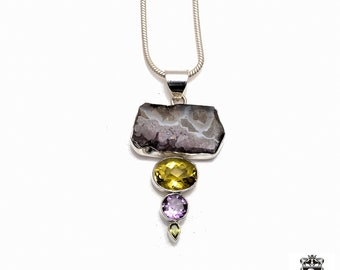 Amethyst Stalactite IMPERIAL TOPAZ Amethyst Peridot Fine 925+ 975 S0LID Sterling Silver Pendant + Snake Chain P6117