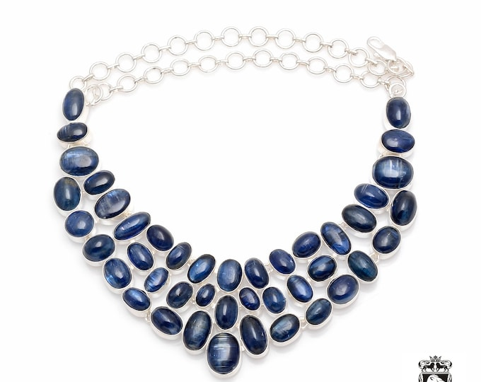 Multi Layered Genuine Top Graded TANZANIAN KYANITE 925 Sterling Silver + Copper Bonded Necklace & Worldwide Express Tracked Shipping N0073
