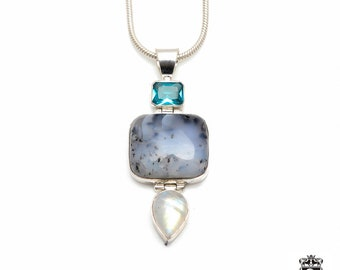 Dendritic OPAL Aquamarine Ceylon RAINBOW MOONSTONE Fine 925+ 975 S0LID Sterling Silver Pendant + Snake Chain P6126
