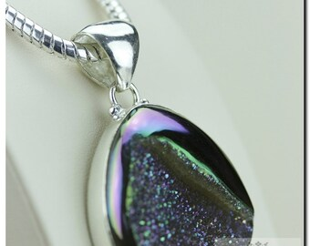 Midnight Moonight Titanium Window Drusy Druzy 925 SOLID Sterling Silver Pendant + 4mm Snake Chain p1251