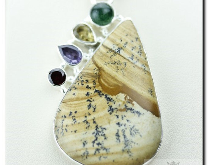 Gotta Have This PICTURE JASPER MULTI 925 Solid Sterling Silver Pendant + 4mm Snake Chain & Free Worldwide Shipping P1770