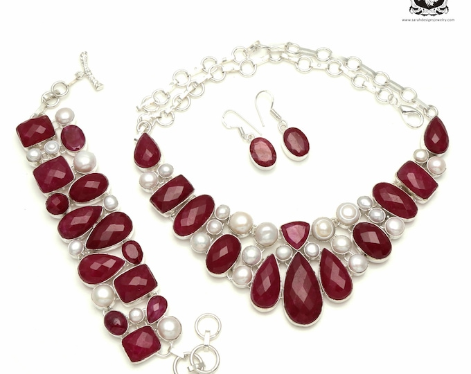 Trendy! RUBY CORUNDUM Pearl 925 Sterling Silver + Copper Bonded Necklace Bracelet & Earrings ALL Included SET534