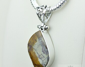 Rhyolite Rainforest Jasper 925 S0LID Sterling Silver Pendant + 4MM Snake Chain  p3560