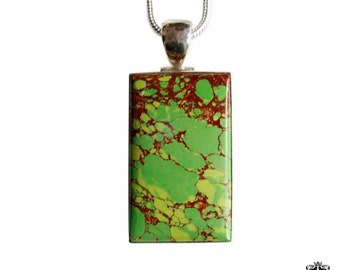 Rectangular Green Mohave TURQUOISE 925 Sterling Silver + BONDED Copper Pendant Snake Chain & Worldwide Shipping p4393