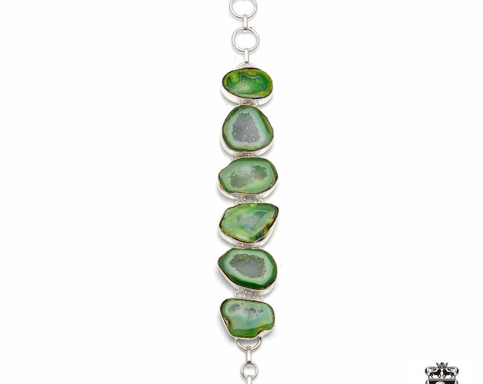 Green STALACTITE 925 Sterling Silver + Copper Bonded Bracelet & Worldwide Express Tracked Shipping B3018