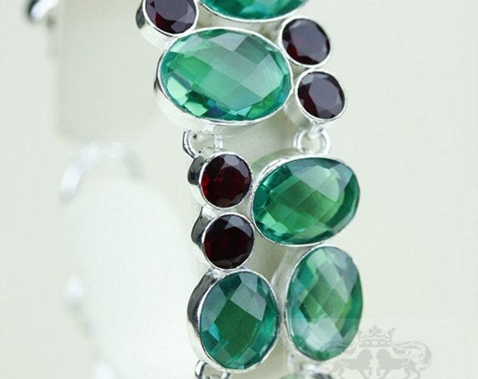 207 Carats Combined Green Emerald QUARTZ Garnet 925 S0LID Sterling Silver Bracelet & FREE Worldwide Shipping B1681