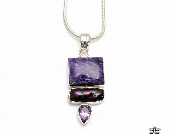 Russian CHAROITE Abalone Pearl Amethyst Fine 925+ 975 S0LID Sterling Silver Pendant + Snake Chain P6018