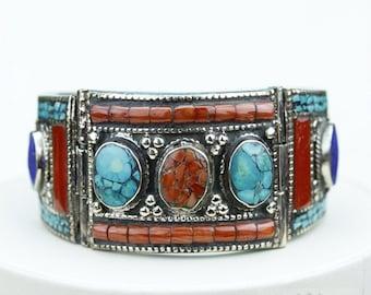 Classy! Coral Turquoise Native Tribal Ethnic Jewellery Tibet Tibetan Nepal OXIDIZED Silver Bangle B2282