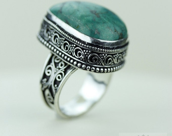 Size 8 - Genuine Tibetan TURQUOISE 925 S0LID (Nickel Free) Sterling Silver Vintage Setting Ring & FREE Worldwide Express Shipping R1729