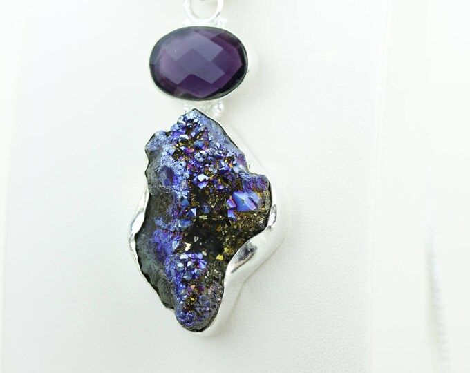 Titanium Druzy Amethyst 925 S0LID Sterling Silver Pendant + 4MM Snake Chain & Worldwide Shipping p4032