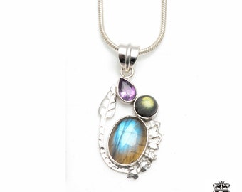 All Hand-Made! True Blue Canadian LABRADORITE wrapped around Leaflet Design Fine 925+ 975 S0LID Sterling Silver Pendant + Snake Chain P6102