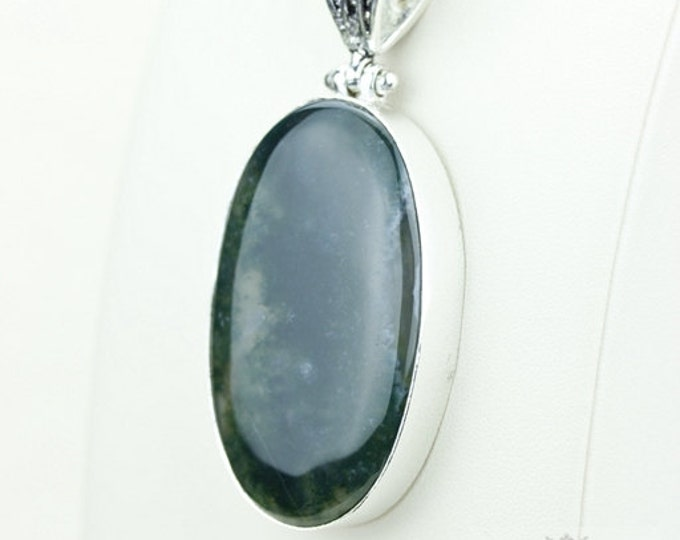 Moss Agate 925 S0LID Sterling Silver Pendant + 4MM Snake Chain  p3627