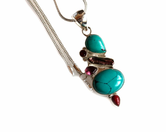 Turquoise Pearl Amethyst Garnet and Coral 925 Sterling Silver + BONDED Copper Pendant Chain & Worldwide Shipping p4477