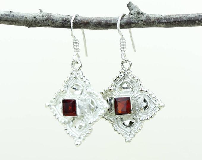 Garnet 925 SOLID (Nickel Free) Sterling Silver Italian Made Dangle Earrings e592