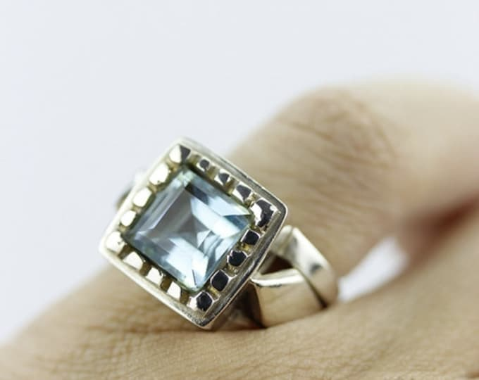 Thick SETTING SIZE 4 AQUAMARINE (Nickel Free) 925 Fine Sterling Silver Ring & Free Worldwide Express Shipping  r110