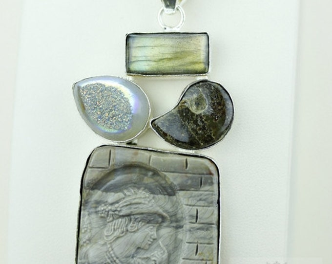 Imperial Jasper Carved Cameo DRUSY AMMONITE LABRADORITE 925 S0LID Sterling Silver Pendant + 4mm Snake Chain & Free Worldwide Shipping mp337