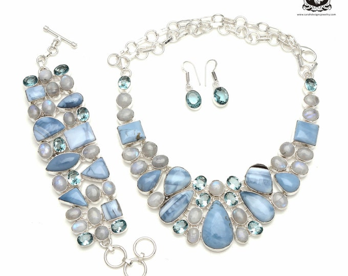 Inspire others around you! BLUE John Stone MOONSTONE 925 Sterling Silver + Copper Bonded Necklace Bracelet & Earrings ALL Included SET570