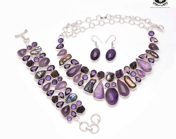 Blast of Purple! Genuine African AMETHYST 925 Sterling Silver + Copper Bonded Necklace Bracelet & Earrings ALL Included SET501