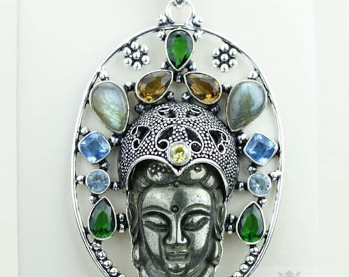 Trendy! Carved Pyrite Kwan Yin Guanyin BUDDHA Goddess Face Moon Face 925 S0LID Sterling Silver Pendant + 4MM Chain & Free Shipping p3722