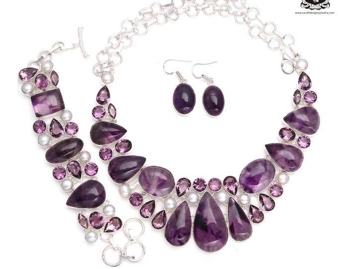 Focus on This! AMETHYST Cabochon Pearl 925 Sterling Silver + Copper Bonded Necklace Bracelet & Earrings ALL Included SET547