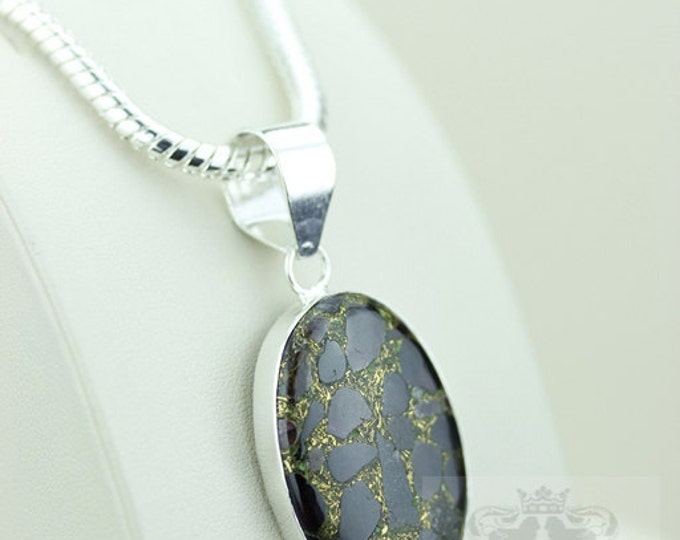 Garnet in Pyrite Formation Aggregate 925 S0LID Sterling Silver Pendant + 4mm Snake Chain  P2667