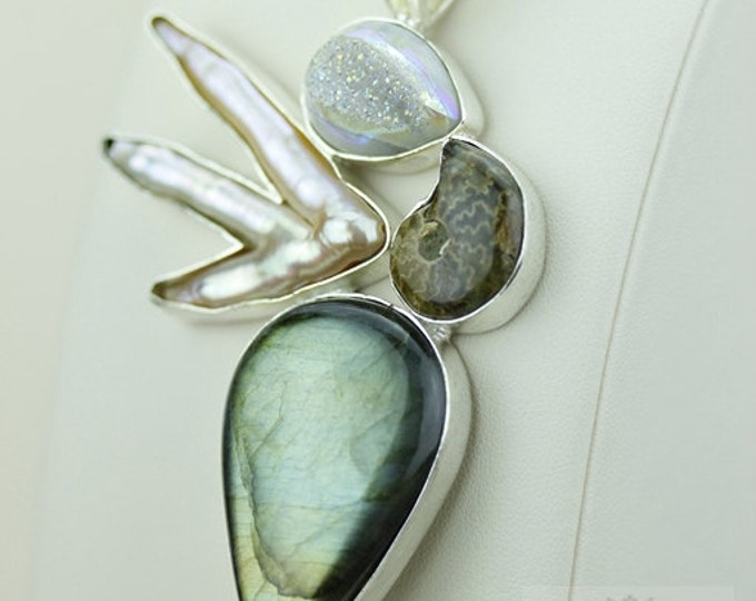 LABRADORITE AMMONITE FOSSIL Pearl 925 S0LID Sterling Silver Pendant + 4mm Snake Chain & Free Worldwide Shipping mp358