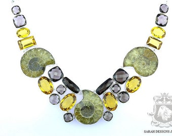 Absolutely Exquisite Piece!! Outstanding Grade Madagascar AMMONITE Fossil MADEIRA CHAMPAGNE Citrine 925 S0LID Sterling Silver Necklace N45