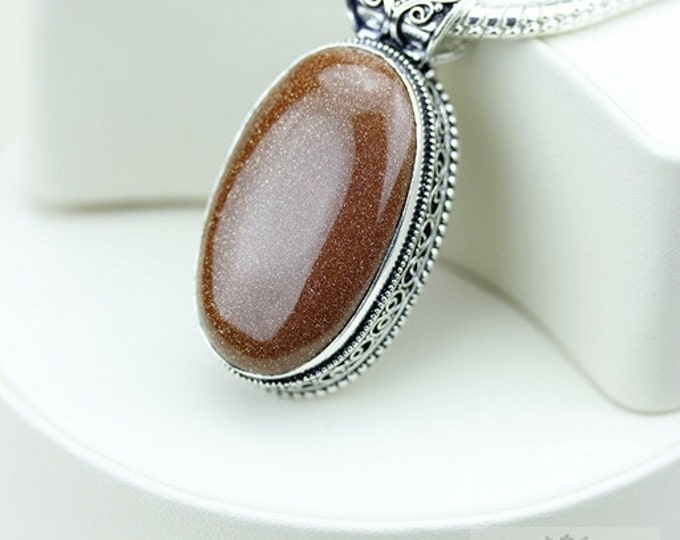 Goldstone VINTAGE Style Setting 925 S0LID Sterling Silver Pendant + 4MM Snake Chain & FREE Worldwide Shipping P3238