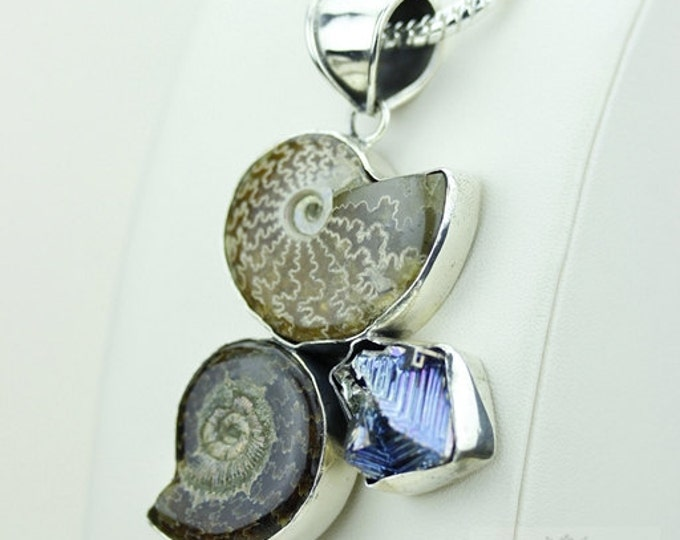 Placenticeras Ammonite Fossil Bismuth Crystal 925 S0LID Sterling Silver Pendant + 4mm Snake Chain & Free Worldwide Shipping MP158