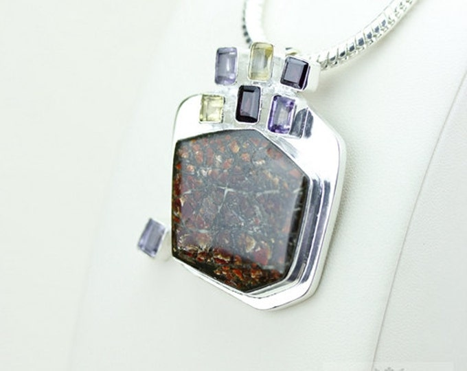 One of a Kind!! GENUINE Canadian AMMOLITE 925 Solid Sterling Silver Pendant + 4mm Snake Chain & FREE Worldwide Shipping P1586