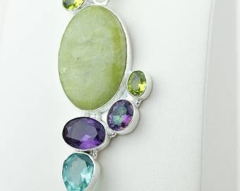 Serpentine Mystic Topaz Amethyst Peridot 925 S0LID Sterling Silver Pendant + 4MM Snake Chain p4173