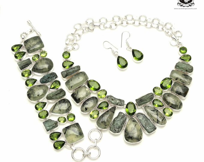 Save your money up for this! African PREHNITE 925 Sterling Silver + Copper Bonded Necklace Bracelet & Earrings ALL Included SET539
