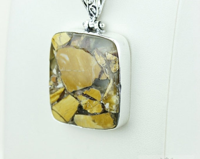 Fabulous BRECCIATED MOOKAITE 925 S0LID Sterling Silver Pendant + 4MM Snake Chain  P3658