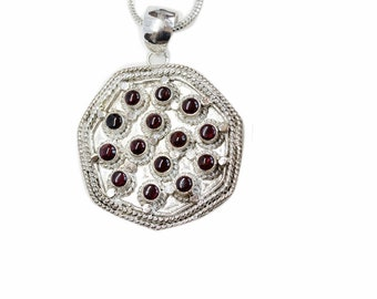 Cookies Dough Garnet 925 Sterling Silver + BONDED Copper Pendant Snake Chain & Worldwide Shipping p4544