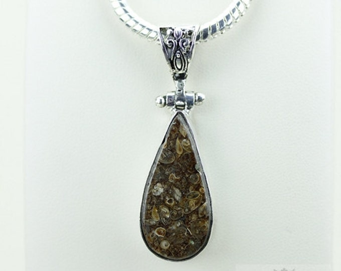 Tear Drop TURRITELLA Agate 925 S0LID Sterling Silver Pendant + 4MM Snake Chain  P3529