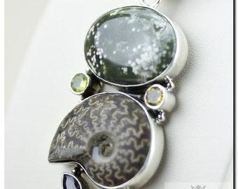 4 Inch South Dakota Placenticeras MEEKI Ammonite Fossil Ocean Jasper 925 SOLID Sterling Silver Pendant + 4mm Chain & FREE  Shipping P4