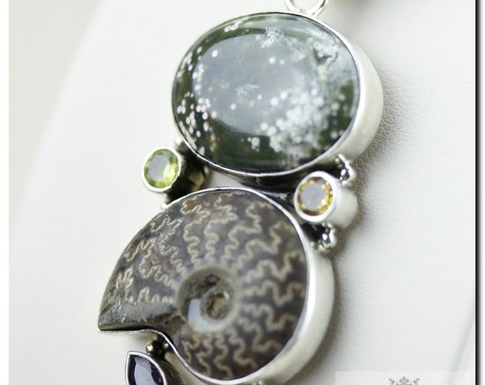 4 Inch South Dakota Placenticeras MEEKI Ammonite Fossil Ocean Jasper 925 SOLID Sterling Silver Pendant + 4mm Chain & FREE  Shipping P4