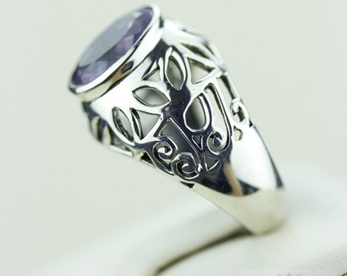 Size 7.5 FILIGREE VINTAGE AMETHYST (Nickel Free) 925 Fine S0LID Sterling Silver Ring & Free Worldwide Express Shipping r571