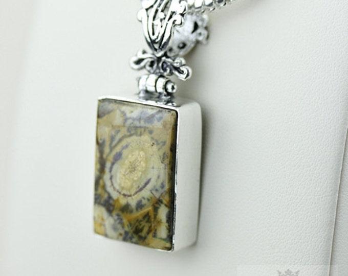 Mexican Birds Eye Jasper (Genuine) 925 S0LID Sterling Silver Pendant + 4MM Snake Chain & Free Worldwide Shipping p3536