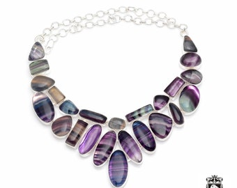 Max Healing Factor at Play! AAA Grade Multi FLUORITE 925 Sterling Silver + Copper Bonded Necklace & Worldwide Express Tracked Shipping N0066