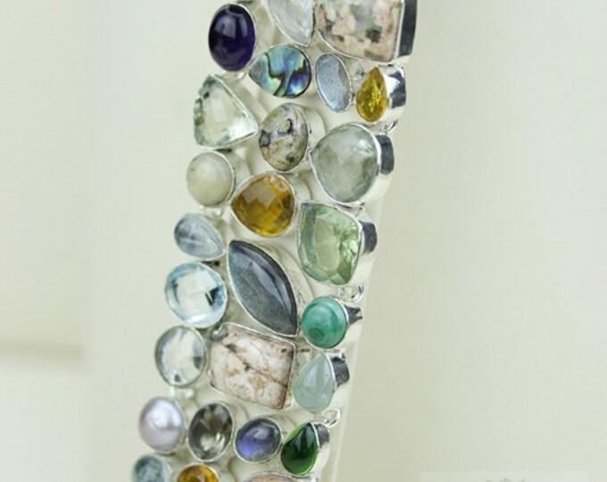 Abalone Shell PRASIOLITE LABRADORITE RUTILE Quartz 925 Solid Sterling Silver Bracelet + Free Worldwide Shipping B1473