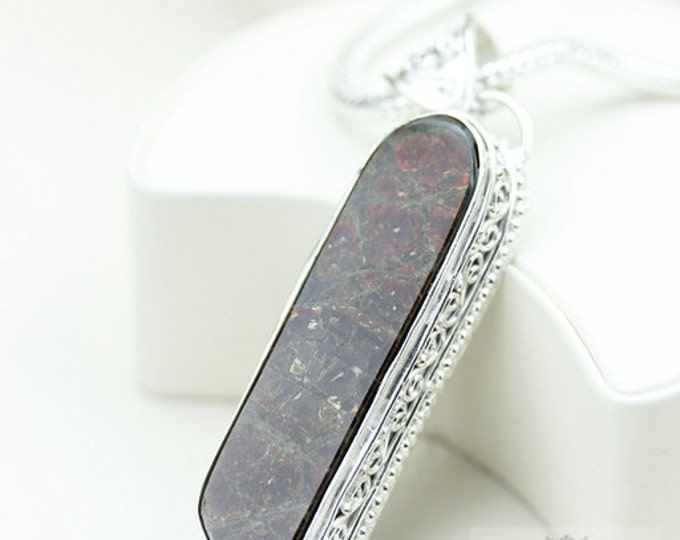 4 Inch Large! Vintage Setting GENUINE Canadian AMMOLITE 925 Solid Sterling Silver Pendant + 4mm Snake Chain & FREE Worldwide Shipping P1592