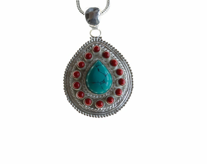 Tibetan Turquoise Coral Crafted 925 Sterling Silver + BONDED Copper Pendant Chain & Worldwide Shipping p4479