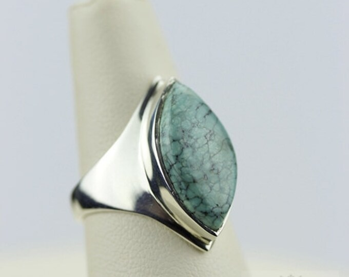 SIZE 7.5 TIBET TURQUOISE (Nickel Free) 925 Fine Sterling Silver Ring & Free Worldwide Express Shipping r97
