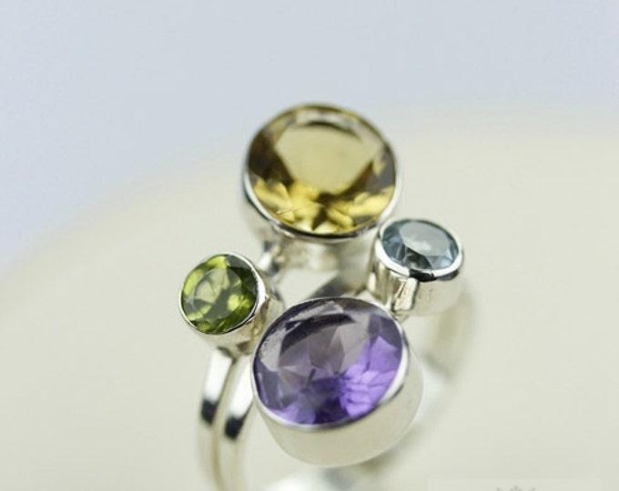 Size 6 AMETHYST PERIDOT TOPAZ (Nickel Free) 925 Fine Sterling Silver Ring & Free Worldwide Express Shipping r109