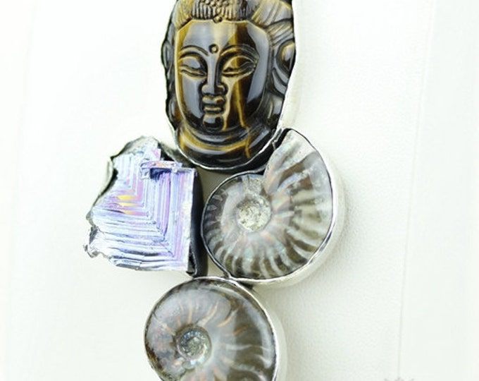 Carved Tigers Eye BUDDHA Bismuth Crystal Ammonite Fossil 925 S0LID Sterling Silver Pendant + 4mm Snake Chain & Free Worldwide Shipping MP152